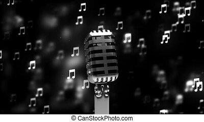 microphone, résumé, loopable, retro, fond, hd, gentil