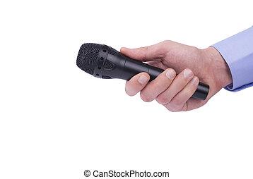microphone., ręka
