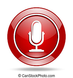 microphone red web glossy round icon