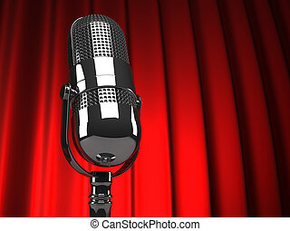 Microphone - Retro microphone against stage curtain - 3d...
