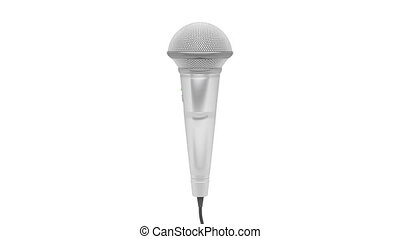 Microphone rotates on white background