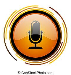 microphone round design orange glossy web icon