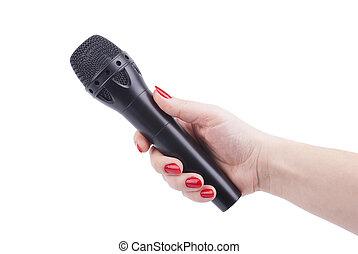 microphone., samicza ręka