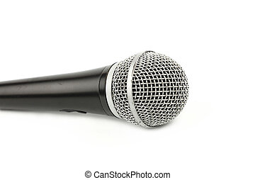Microphone side view close up on white