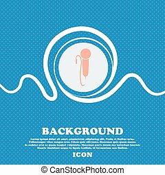 microphone sign. Blue and white abstract background flecked with space for text and your design. Vector