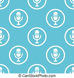 Microphone sign blue pattern