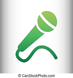 Microphone sign. Green gradient icon