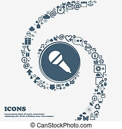 Microphone sign icon in the center. Around the many beautiful symbols twisted in a spiral. You can use each separately for your design. Vector