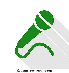 Microphone sign illustration. Green icon with flat style shadow path.