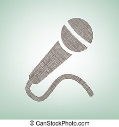 Microphone sign illustration. Vector. Brown flax icon on green background with light spot at the center.