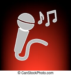 Microphone sign with music notes. Postage stamp or old photo style on red-black gradient background.