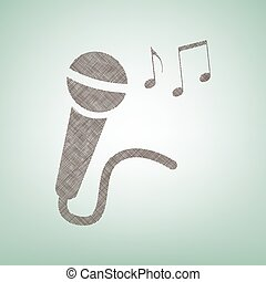 Microphone sign with music notes. Vector. Brown flax icon on green background with light spot at the center.