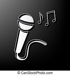Microphone sign with music notes. Vector. Gray 3d printed icon on black background.