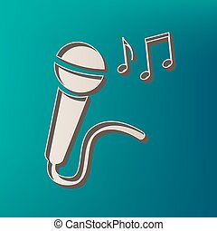 Microphone sign with music notes. Vector. Icon printed at 3d on sea color background.