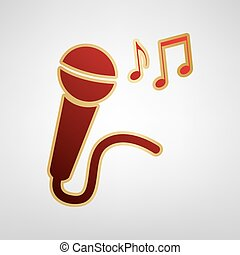 Microphone sign with music notes. Vector. Red icon on gold sticker at light gray background.