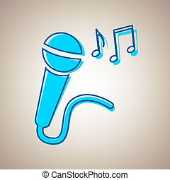 Microphone sign with music notes. Vector. Sky blue icon with defected blue contour on beige background.