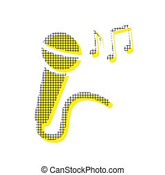 Microphone sign with music notes. Vector. Yellow icon with squar