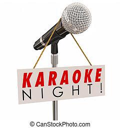 microphone, signe, publicité, nuit, amusement, fête, chant, karaoke