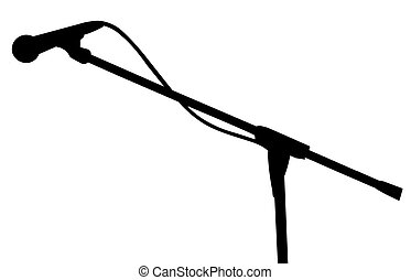 microphone silhouette - microphone black silhouette isolated...