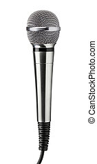 Microphone - Silver handheld ball head microphone isolated...