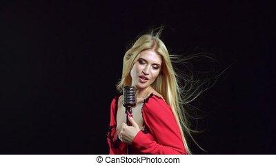 microphone, song., noir, retro, fond, hilare, girl, chant