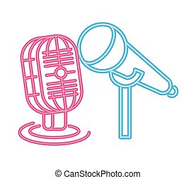 microphone sound accessory neon lights vector illustration ...