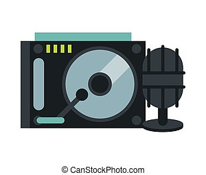 microphone sound with lp player vector illustration design