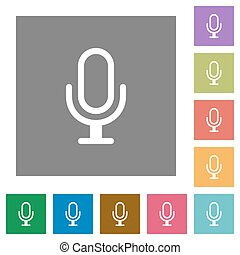 Microphone square flat icons