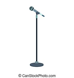 microphone stand icon over white background, flat design, vector illustration
