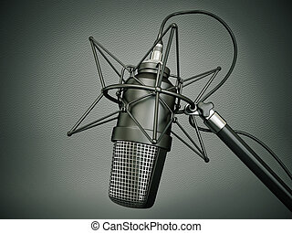 microphone - studio microphone isolated on a dark background...