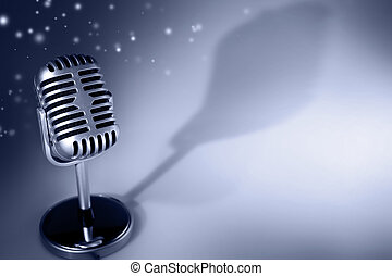 Microphone - Retro microphone on blue tone background