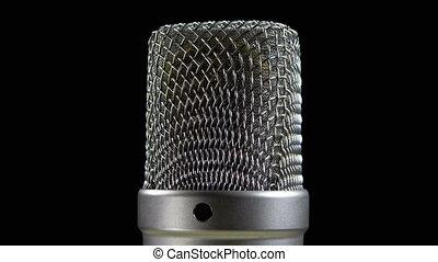 microphone, studio, fond, condensateur, tourne, noir