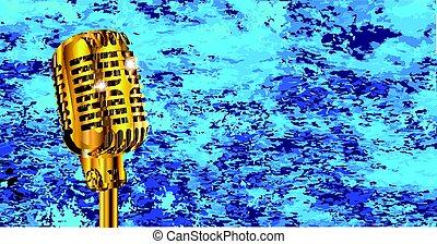 microphone, sur, bleus, brûler