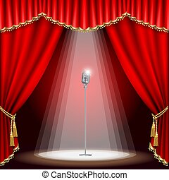 microphone, théâtre, étape