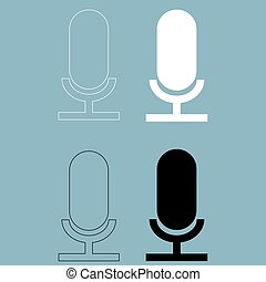 Microphone the black and white color icon .