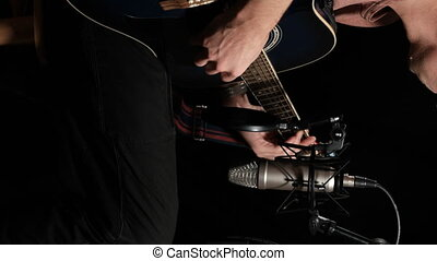 microphone, toile de fond, studio, guitare, enregistrement, video., acoustique, vertical, noir