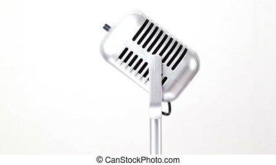 microphone, tourne, blanc, métallique