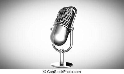 microphone, tourner, retro, boucle, gra