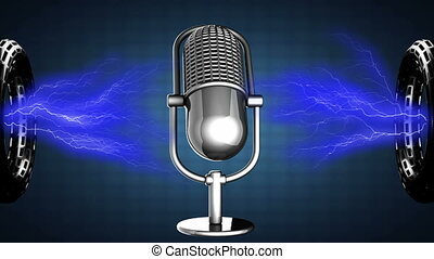 microphone, tourner, retro, boucle