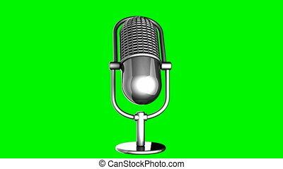 microphone, tourner, vert, boucle