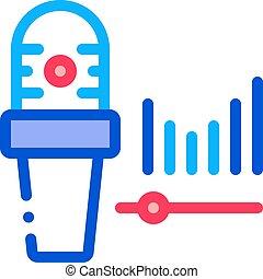 microphone, vagues, icône, illustration, audio, contour