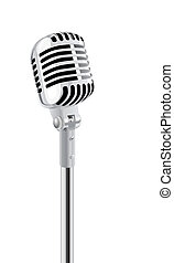 Microphone - Retro Microphone On Stand Isolated Over White