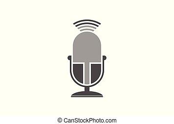 microphone vector logo icon concept