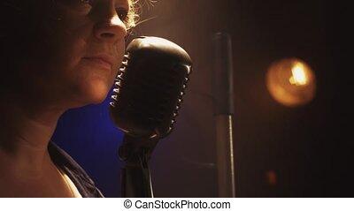 microphone, vendange, cri, club., smoke., scrubwoman, projecteur, étape