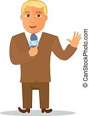 microphone., vetorial, personagem, caricatura, repórter