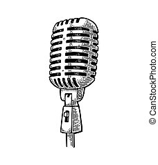 Microphone. Vintage vector black engraving illustration for...