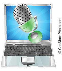 microphone, voler, dehors, de, ordinateur portable, écran, concept