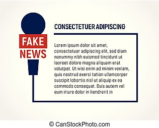 Microphone wire frame with text, fake news, false broadcast...