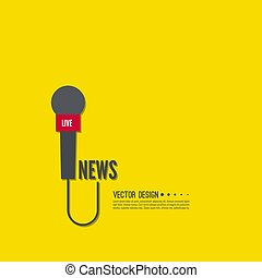 Microphone with a wire. - Vector icon of a microphone with ...