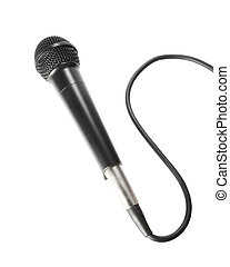 Microphone with cord - Stock image of black microphone with...
